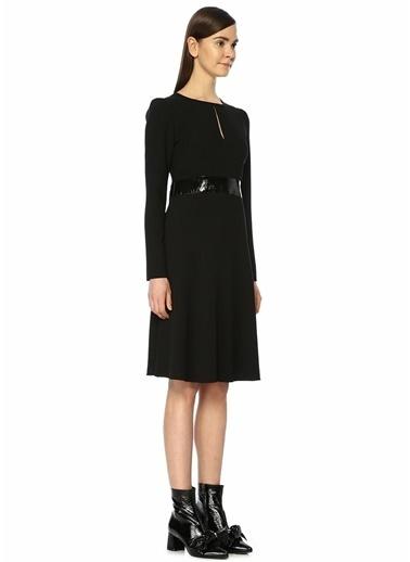 Beymen Club Pile Detaylı Midi Elbise Siyah